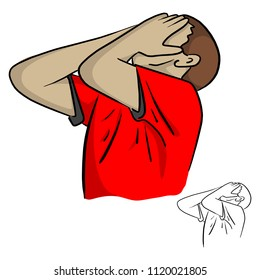male unhappy soccer or football player with palm on his face after missing goal vector illustration sketch doodle hand drawn with black lines isolated on white background