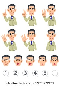Male upper body expression and number set of a construction store counting numbers with fingers