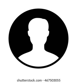 Male user account profile circle flat vector icon for apps and websites