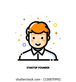 Male user avatar of startup founder. Icon of cute boy face. Flat filled outline style. Pixel perfect 64x64. Editable stroke