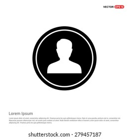 male user Icon - abstract logo type icon - black circle background. Vector illustration
