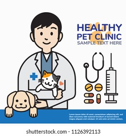 Male veterinarian with kitten, puppy and medicine equipments, pet doctor in vet clinic outline cartoon