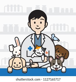 Male veterinarian surrounded with pet in vet clinic background, outline cartoon