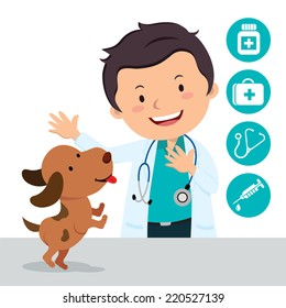Male veterinarian. Vector illustration of a veterinarian with a cute puppy and medical icons.