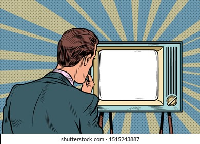 male viewer watching TV. Television propaganda, film and news. Pop art retro vector illustration drawing