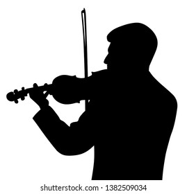Male violinist silhouette back view
