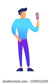 Male vlogger standing and using smartphone vector illustration. Blogger and vlogger, smartphone technology and video content, mobile phone apps and livestream concept. Isolated on white background.