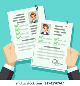 Male vs female cv resume vector illustration top view select
