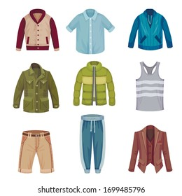 Male Wardrobe and Clothing Items with Jacket and Shirt Vector Set