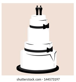 Male wedding cake with black bow ties