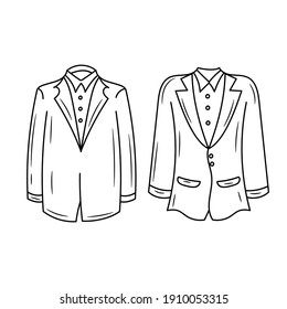 Male wedding dress vector illustration, isolated  linear style pictogram