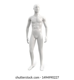 Male white plastic glossy standing mannequin for clothes. Full face. Decor showcases fashion store. Vector 3d realistic illustration isolated on white background.