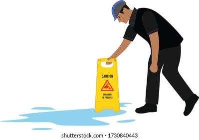 Male worker placing the sign board near the water spill on the floor. Vector Illustration