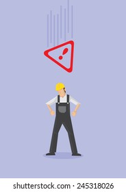 Male worker wearing yellow helmet and overall and falling Alert warning sign above his head. Conceptual vector illustration in cartoon style for work safety isolated on purple plain background.