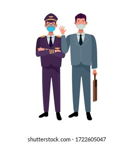male workers using face masks for covid 19 vector illustration design