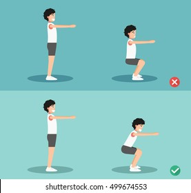 Male wrong and right squat posture,vector illustration