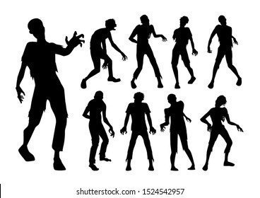 Male Zombie standing and walking actions in Silhouette style collection. Full lenght of people resurrected from the dead.