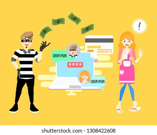 male,man cyber hacker scammer online stealing money concept with shocked female,woman holding mobile smart phone, background flat vector illustration  character cartoon design clip art