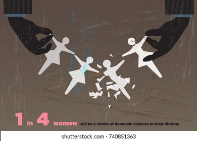 Male's hands hold four paper dolls, one is destroyed. One in four women will be victim of domestic violence concept. Vector illustration and photo image available.