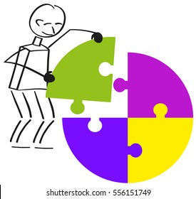 Males inserts the last puzzle piece into a round puzzle.