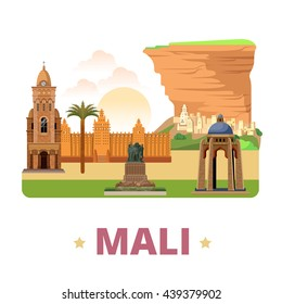 Mali country flat cartoon style historic sight web vector illustration. World vacation travel Africa African collection. Bandiagara Escarpment Monument al Quoods Djenne Great Mosque Bamako Cathedral.