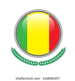 mali flag button. mali flag icon. Vector illustration of mali flag on white background.