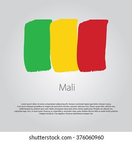 Mali Flag with colored hand drawn lines in Vector Format