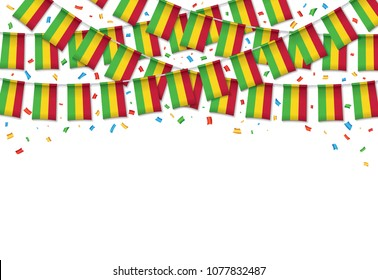 Mali flag garland white background with confetti, Hanging bunting for Malian independence Day celebration template banner, Vector illustration