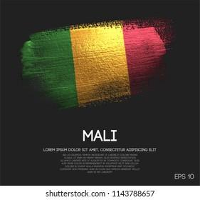 Mali Flag Made of Glitter Sparkle Brush Paint Vector