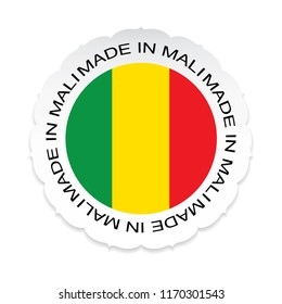 Mali Flag vector.Mali national official colors, Made in Mali a white background.