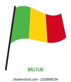 Mali Flag Waving Vector Illustration on White Background. Mali National Flag.