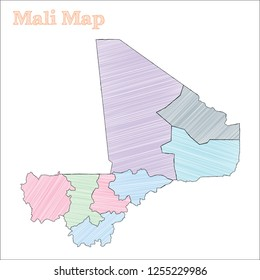 Mali hand-drawn map. Colourful sketchy country outline. Shapely Mali map with provinces. Vector illustration.