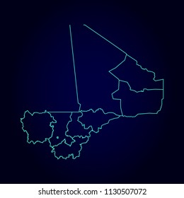 Mali map: blue glitter outline with sparkling stars on dark background. Detailed map of Mali. Vector illustration.