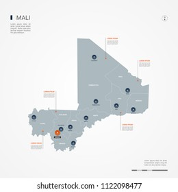 Mali map with borders, cities, capital Bamako and administrative divisions. Infographic vector map. Editable layers clearly labeled.