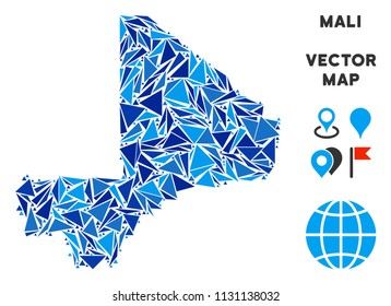 Mali map collage of blue triangle items in different sizes and shapes. Vector triangles are organized into geographic Mali map illustration.