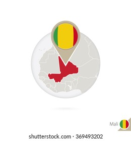 Mali map and flag in circle. Map of Mali, Mali flag pin. Map of Mali in the style of the globe. Vector Illustration.
