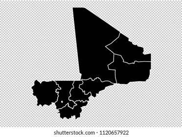 mali map - High detailed Black map with counties/regions/states of mali. mali map isolated on transparent background.