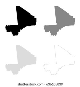 Mali maps in black, gray and line art. High detailed vector map, easy to edit.