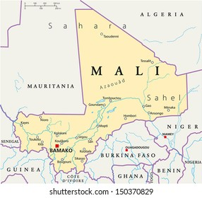 Mali Political Map - Political map of Mali with the capital Bamako, national borders, most important cities, rivers and lakes. Vector illustration with english labeling and scale.