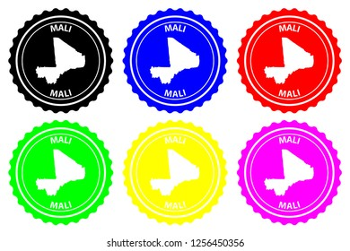 Mali - rubber stamp - vector, Republic of Mali map pattern - sticker - black, blue, green, yellow, purple and red