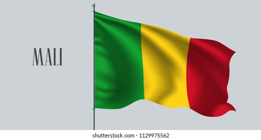 Mali waving flag on flagpole vector illustration. Red green element of Mali wavy realistic flag as a symbol of country