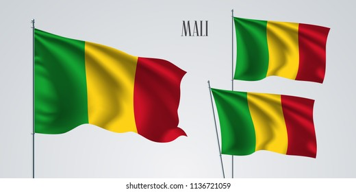 Mali waving flag set of vector illustration. Red green colors of Mali wavy realistic flag as a patriotic symbol
