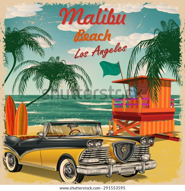 Malibu Beach California Retro Poster Stock Vector (Royalty