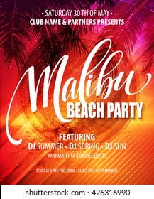 Malibu Beach Party poster. Tropical background. Vector illustration EPS10