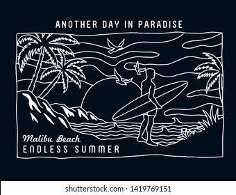 Malibu Beach, The surfer  with, beach view, mountains, palm trees and birds . Vector illustrations for t-shirt prints, posters and other uses.