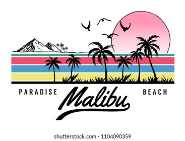 Malibu Beach theme vector illustrations, for t-shirt and other uses.
