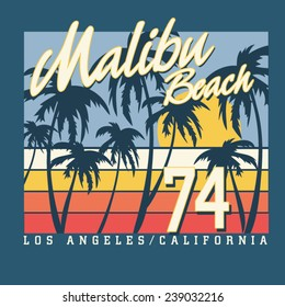 Malibu surf sport typography, t-shirt graphics,  vectors