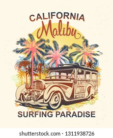 Malibu typography for t-shirt print with palm,beach and retro Woody Car.Vintage poster.