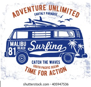 Malibu typography for t-shirt print , vector illustration