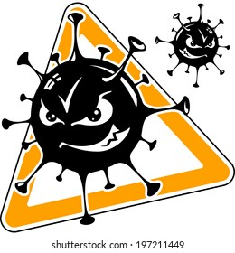 malicious computer virus, monster, cartoon, black icon, vector illustration